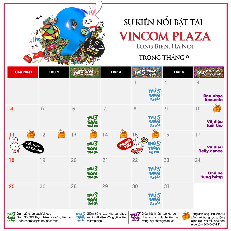 Tháng 9 này, có gì chờ bạn ở Vincom Plaza Long Biên