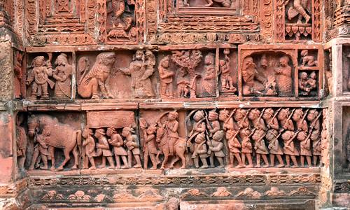 Char Bangla Temple, Murshidabad, West Bengal, India : One of the