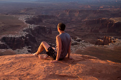 Sitting down and taking in the sunrise (mattsj1984) Tags: people parks canyonlandsnationalpark whiterimoverlook matthewjohnson nationalparks