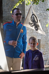 Father and son Medieval week Gotland (stenaake) Tags: medieval week festival child son father flag watching looking visby gotland sweden happy barcelona fcb