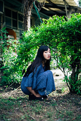 (I C E I N N) Tags: e fe sony outdoor photoshoot asian girl moody melancholy gaze squat people portrait black hair blue flower floral dress shoes building house bush tree sonya7ii ilce7m2 zhongyi mitakon speedmaster 50mm f095 dof bokeh kaohsuing taiwan   rabii