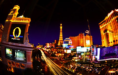 Window View Vegas (MagArtist) Tags: street sky paris reflection tourism window lights hotel nikon neon desert lasvegas nevada casino fisheye entertainment strip bellagio nightlife planethollywood mgm traffice 105mm d7000 blinkagain