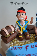 Jake and the Neverland pirates cake topper decoration pirate (The Sugar Studio ni) Tags: birthday party tree boys island gold treasure desert handmade chest 4th disney palm pirate captain figure hook edible izzy gumpaste sugarpaste doubloons thesugarstudio