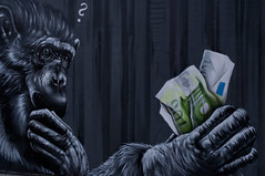 who is chasing the money (LievenVM) Tags: street blue bw streetart money black color colour green grey graffiti monkey pentax euro question questionmark dollar 100  lieven europeancentralbank europischezentralbank pentaxk7 chasingthemoney lievenvm