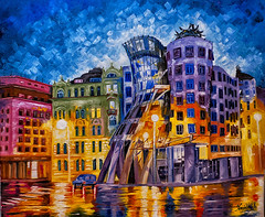 Dance after the rain (Edgar Barany) Tags: paint czech prague prag praha praga canvas oil czechrepublic praag ceskarepublika dancingbuilding republicacheca dancinghouse ceskarepublica d700 anettkomjathy