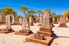 Broome (David Foster Photos) Tags: city blue winter sky cemeteries brown sun sunlight color colour tree green colors grave graveyard sunshine japan horizontal gum palms landscape japanese landscapes town divers skies colours afternoon bright graveyards au australian cities culture july peaceful sunny australia diving palm graves clean eucalypt gravestone tropical burial diver eucalyptus cloudless sunlit kimberley towns cultures gravestones tropics tranquil westernaustralia cultural broome 2012 westaustralia burialground eucalypts tranquillity treelined pearldivers burialgrounds burials kimberleys westaustralian westernaustralian pearldiving pearldiver