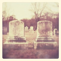 Neighbors (phoenix_x_) Tags: old winter cemetery graveyard dc headstone tombstone newengland aged neighbors patina afterglow loftus iphone iphone4 iphoneography hipstamatic snapseed uploaded:by=flickrmobile flickriosapp:filter=nofilter