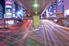SHIBUYA TRAIL (ajpscs) Tags: longexposure nightphotography lightpainting japan japanese lights tokyo nikon nightshot streetlights shibuya  nippon  lighttrails  nightdrive afterdark hikari trailoflights  d300 nishiguchi traillights riveroflights westexit tamagawadori traffictrail ajpscs carlighttrail streaminglights mygearandme mygearandmepremium mygearandmebronze mygearandmesilver mygearandmegold mygearandmeplatinum mygearandmediamond flowinglights tokyo japan