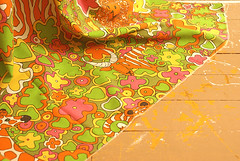 PsychOut (obsequies) Tags: pink orange green yellow print 60s colorful kaleidoscope gifts fabric 70s childrens lime trippy psychedelic storybook groovy 1973 klopmanmills divofburlingtonind
