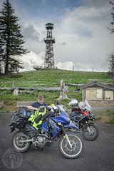 Parked at the Point (Trail Image) Tags: oregon ben motorcycle lookouttower badmemory bmwr1200gsadventure kawasakiklr650 hatpoint