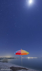 Umbrella 8 (1 Johnny) Tags: longexposure nightphotography light moon color beach colors night umbrella ideas salton colorfulstars palmspringspalmsprings seasaltonseacalifornia