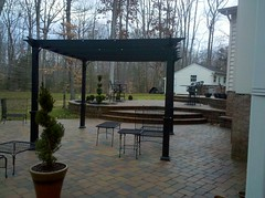 After - Patio with pergola (The Sharper Cut Landscapes) Tags: landscaping steps maryland patio paver retainingwall charlescounty landscapedesign seatwall porttobacco bullnose countrymanor entertainmentarea londoncobble landscapecompany belgardhardscapes