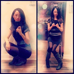 Good evening... (Red-Eclipse) Tags: street nyc newyorkcity portrait people urban woman newyork black anime cute love me nature girl beautiful face fashion canon hair square asian fun japanese glasses model pretty dress nashville boots chinese manga parties style skirt korean squareformat kawaii iphone iphoneography instagramapp uploaded:by=instagram