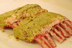 Marinade/Paste on the racks (gadgetgeek) Tags: ribs lamb bge biggreenegg rackoflamb fridaydinner lambribs shadybrookfarm frenchedbones