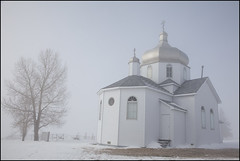 St. John Orthodox Church (Nelson Webb) Tags: mist church fog rural country alberta ukrainian orthodox saintjohns
