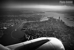 NYC B&W (BABAK photography) Tags: blackwhite manhattan laguardia empirestatebuilding babak lga windowseat nycbw runway31 wingshot nycfromair babakca nycphotography nycaviation embraererj