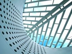abstract blues - (Explored) (Demetrios Lyras) Tags: blue windows abstract building art architecture clouds angle fav50 sfmoma explore soma mariobotta sfist fav10 fav5 fav25 sanfranciscocausa fav75 anglesanglesangles