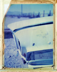 Ludlow, CA (moominsean) Tags: auto california abandoned car polaroid route66 fuji desert ludlow instant chrysler fp1 type108 expired012000