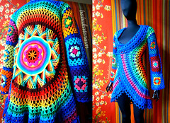 Crochet Coat - Aztec Sun Mandala And Granny Squares (babukatorium) Tags: pink blue red orange flower color green art wool fashion yellow vintage circle square star sweater rainbow colorful warm purple recycled handmade lace turquoise teal burgundy oneofakind coat crochet moda violet style mandala retro daisy hippie psychedelic applique cardigan bohemian multicolor octagon whimsical darkblue mitts ruffle haken hkeln emeraldgreen croch grannysquares ganchillo royalblue fuxia uncinetto fattoamano lam  tii horgolt uvgreen babukatorium