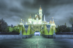 Sleeping Beauty Castle Infrared (cstout21) Tags: california ca old travel chris vacation usa reflection brick castle night clouds us big colorful pretty gloomy unitedstates disneyland peaceful landmark disney historic infrared matterhorn orangecounty walt hdr highdynamicrange sleepingbeauty stout waltdisney sleepingbeautycastle disneylandresort ngoc canon60d stoutandstout northamera