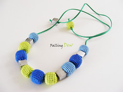 Monaco Blur Lime Light Blue Necklace (FallingDew) Tags: blue summer colour fashion crochet monaco session lime pallete 2013