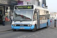 Kirkby Lonsdale Coach Hire Ltd . Carnforth , Lancashire . FRZ2033 ( ex R610NFX ) . Kendal , Cumbria . Tuesday 05th-March-2013 . (AndrewHA's) Tags: bus coach blueline lancashire route solo cumbria solent 44 hire kendal carnforth kirkbylonsdale optare townservice m850 goaheadsouthcoast r610nfx frz2033