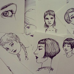 Scribbling at work.  Ink on paper scraps. (the brilliant magpie) Tags: woman silly eye valencia girl face ink paper square sketch amy drawing doodle squareformat scribbles iphoneography instagramapp uploaded:by=instagram abshierreyes