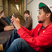 Owen Hall residents check their phones for weather updates during the disaster drill.