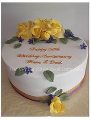 love is the only gold (The Whole Cake and Caboodle ( lisa )) Tags: roses cakes rose yellow cake golden anniversary violet violets natasha caboodle
