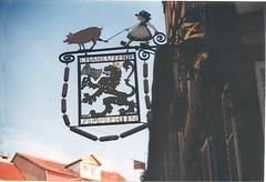 Colmar, Alsace (sftrajan) Tags: france sign shop frankreich colmar alsace 1997 francia streetscape oldcity elsass butchers  charcuterie elsas hautrhin alsasko alsazia