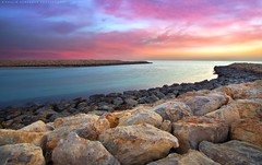 Passage to sunrise (khalid almasoud) Tags: light sea sun clouds speed sunrise spread rocks flickr all glare photographer pentax horizon  corridor sigma surface formation rights estrellas shutter absolutely layers kuwait passage khalid reserved waterway appearance    greatphotographers   photographyrocks k01  10mm20mm almasoud     perrrfect