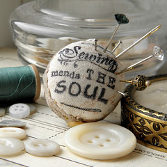Sewing Mends the Soul Pincushion Ring (Wychbury Designs) Tags: uk typewriter ink vintage typography design pin hand sewing craft tags ring stamp made type stamping lettering pincushion etsy wearable needles needlecraft folksy wychbury wychburydesigns