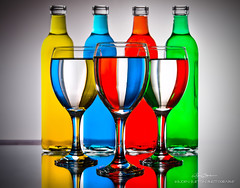 Colors (Bjrn Burton Photography) Tags: blue red stilllife reflection green yellow backlight whiteboard strobe wineglasses glasstable glassware foodcoloring nikond800 nikon2470mm28g oilvinegarglassware
