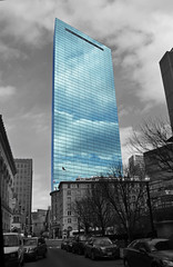 The Hank (Leki13) Tags: blue sky bw building tower glass boston clouds skyscraper reflections square ma mirror bay back nikon ne tall hancock copley d3100