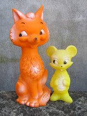 Combex Critters (The Moog Image Dump) Tags: cute animal vintage toy mouse fox kawaii figure squeaker creations squeaky combex