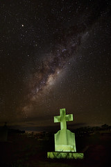 Friendly ghost || Narooma (David Marriott - Sydney) Tags: narooma newsouthwales australia au cemetery samyang 14mm cross headstone milky way ghost appartition