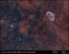 NGC6888 Crescent and a soap bubble (Andre vd Hoeven) Tags: crescent nebula ngc6888 soap bubble astrophotography deepsky astronomy astrometrydotnet:id=nova1688812 astrometrydotnet:status=solved