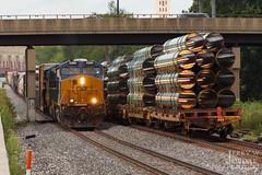 Light 'em up (jwjordak) Tags: manifest pipe unittrain 3300 et44ac bridge csxt flatcar train akron ohio unitedstates us