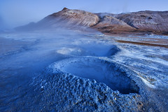 Earth breathing (Jos M.S. Moreira) Tags: earth blue lunar iceland namafjall night nikonflickraward
