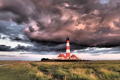 Turm unter Wolken (Stefan Böttger) Tags: westerheversand nordsee himmel wolken olympusstylus1 nordfriesland ligthouse westerhever