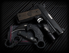 Downtown Carry (Fly to Water) Tags: nighthawk custom firearms firearm 1911 pistol handgun tactical combat gun edc every day carry swiss army knife brous blades enforcer karambit foxhanx handkerchief kraktiller knuck surefire x200 light weapon professiona product photography blackice