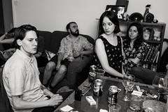 Summer BBQ party (Gary Kinsman) Tags: london fujix100t fujifilmx100t nw5 kentishtown party houseparty summer candid unposed bw blackwhite 2016 availablelight ambientlight night livingroom table looks angry