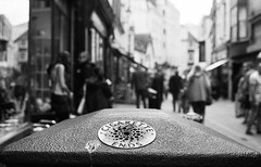Smoking and Shit (DanRSmith) Tags: bw blackandwhite monochrome street bin people hastings oldtown 35mm pentaxsmcm50mmf17 pentaxme fomapan400 rodinal