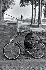 Tire Trouble! (Alfred Grupstra Photography (bussy until 30 octobe) Tags: bw bike blackandwhite man street streetphotography streetlife trees medemblik noordholland nederland nl