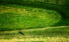 Walking alone the path.. (Ommation (Vasilis Benakis)) Tags: europe edinburgh green girl ground gay grass alone path sun summer scotland streetphotography story woman walk draw walking