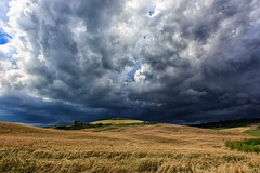 Storm-A-Brewin' (TXA Photography) Tags: landscape italy italia scenic sky clouds hay contrast weather coldorcia tuscany toscana travel summer outdoors europe canon canon5d canon5dmkiii pienza