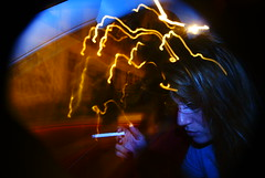 She's Electric (alex.thecat) Tags: light game strange car flash portraits cigarettes night girl