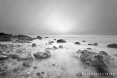 Gray day at sea - Very long exposure - Explore (lathuy) Tags: longexposure sea sky blackandwhite bw mer seascape france beach rocks europe explore ciel normandie paysage normandy plage rochers galets expositionlongue explored nd10 bigstopper