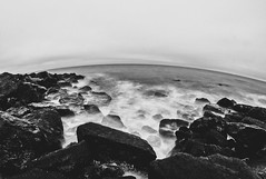 Steephill Cove (Chad Powell Design and Photography) Tags: longexposure sea blackandwhite bw mist seascape water fog canon landscape blackwhite wideangle fisheye 365 canon50mmf18 curve canon50mm canon50mm18 samyang 365challenge 13secs 365daychallenge samyang8mm canon550d canont2i