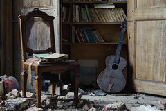 The Scholar and The Composer (Subversive Photography) Tags: house abandoned chair mood guitar decay urbandecay atmosphere books urbanexploration manor subversive derelict rubble urbex danielbarter